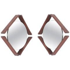 Pair of Walnut Mirrors, Midcentury, Italy