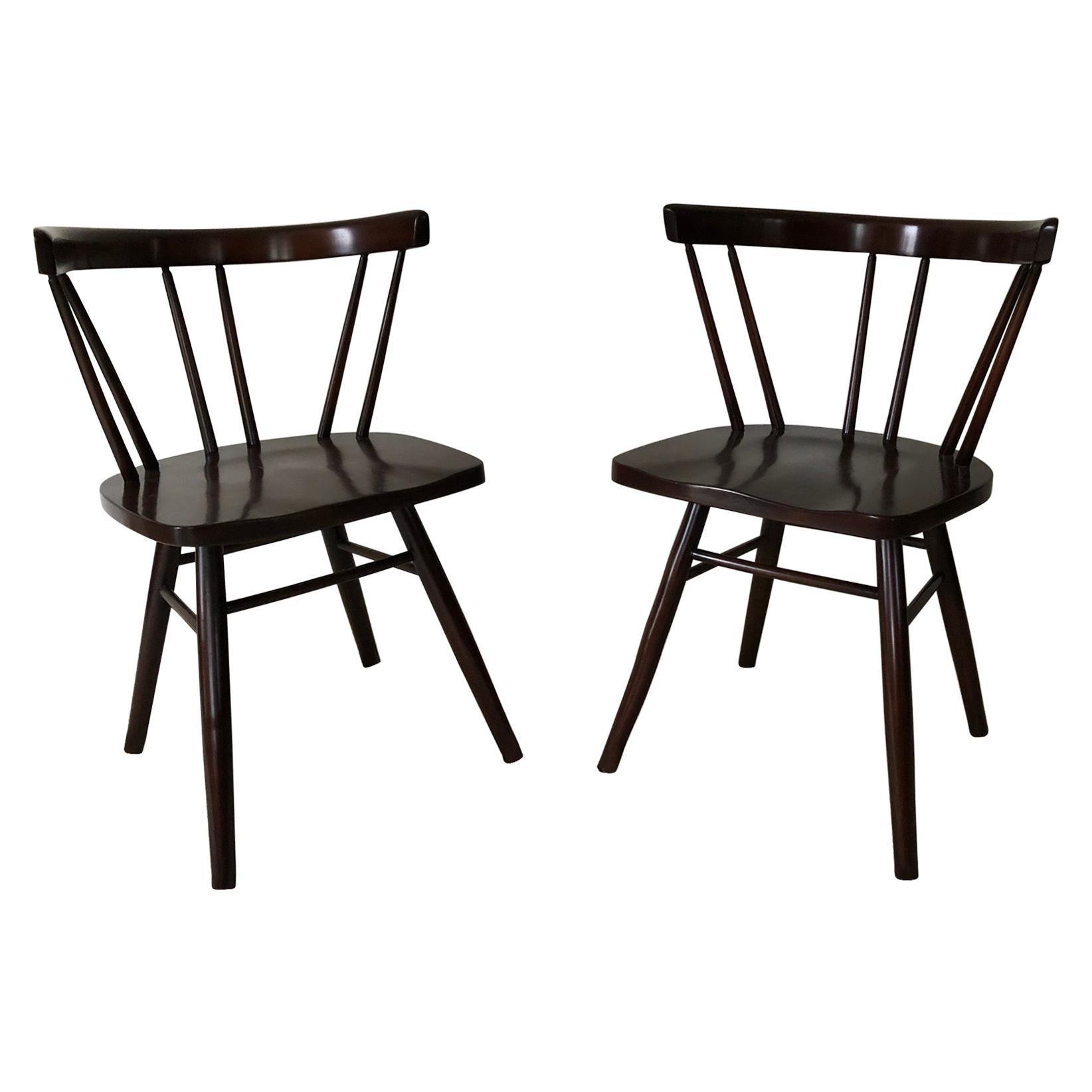 Pair of Walnut Nakashima Style Midcentury Chairs