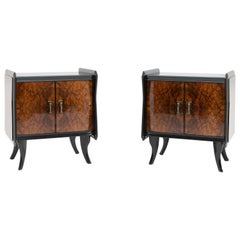 Pair of Walnut Nightstands, Italy, Mid-20th Century