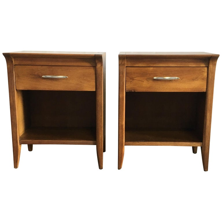 Pair of Walnut Nightstands by Drexel For Sale