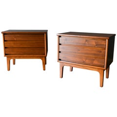 Pair of Walnut Nightstands or End Tables, circa 1960