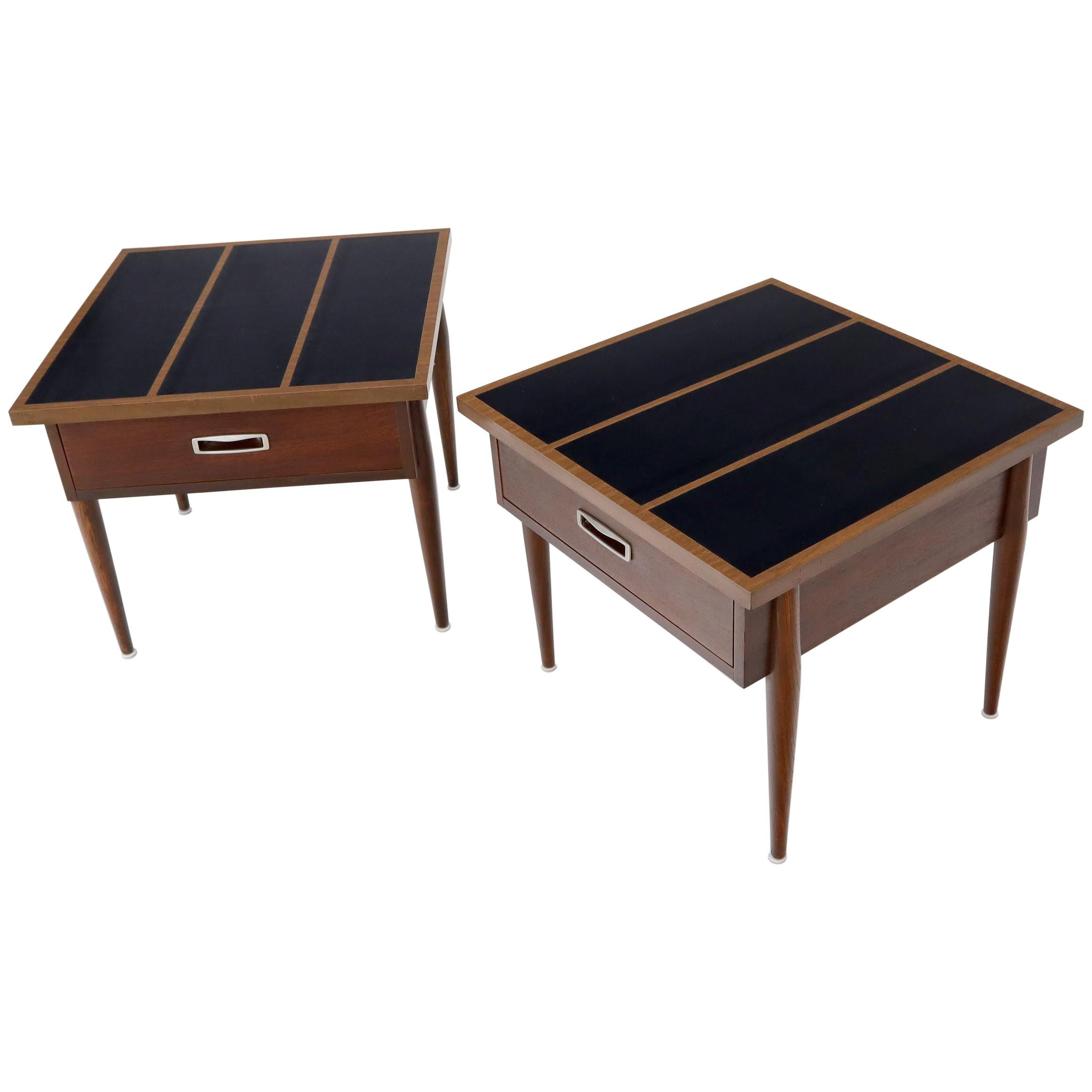Pair of Walnut One-Drawer Side End Tables with Laminated Tops Tapered Legs