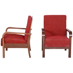 Pair of Walnut Positioning Armchairs, Original upholstery, Restored wood, 1930s