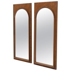 Pair of Walnut Rectangular Frames Dome Shape Mirrors