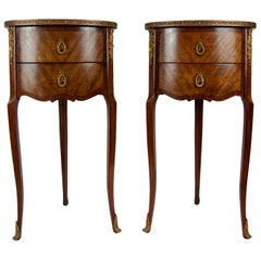 Pair of Walnut Rosewood Cross-Banded Two-Drawer Side Tables, French, circa 1920