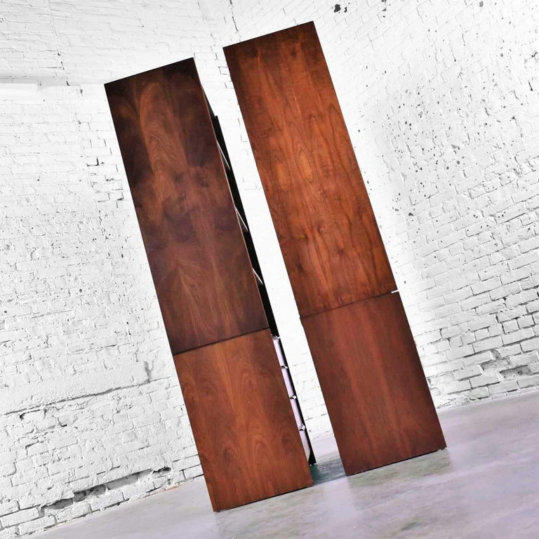 Pair of Walnut Scandinavian Modern Style Bookcase Storage Units by Barzilay Furn For Sale 1