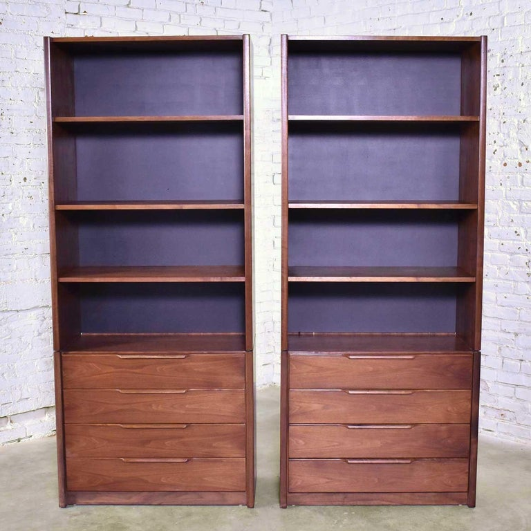 Pair of Walnut Scandinavian Modern Style Bookcase Storage Units by Barzilay Furn For Sale 2