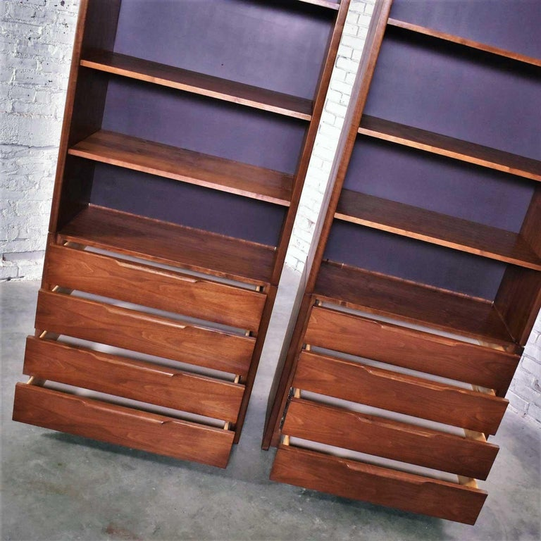 Pair of Walnut Scandinavian Modern Style Bookcase Storage Units by Barzilay Furn For Sale 3