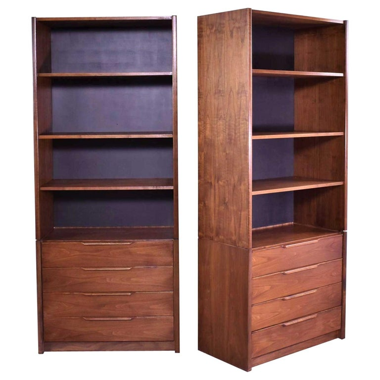 Pair of Walnut Scandinavian Modern Style Bookcase Storage Units by Barzilay Furn For Sale