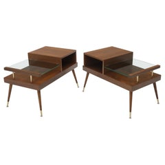 Pair of Walnut Side End Tables with Floating Glass Shelves
