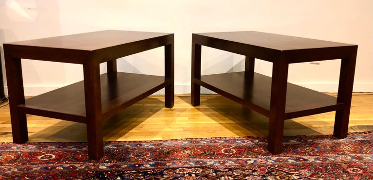 Pair of Walnut Side Tables by Dunbar For Sale 5