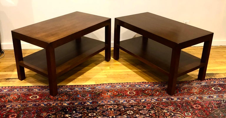 Pair of Walnut Side Tables by Dunbar For Sale 6