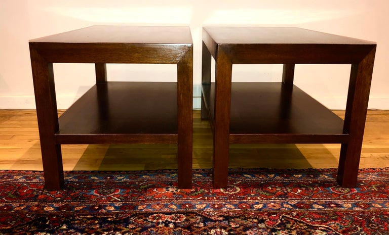 Mid-Century Modern Pair of Walnut Side Tables by Dunbar For Sale