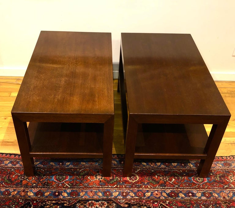 American Pair of Walnut Side Tables by Dunbar For Sale