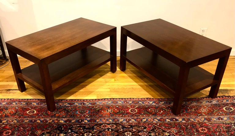 Pair of Walnut Side Tables by Dunbar In Good Condition For Sale In Hudson, NY