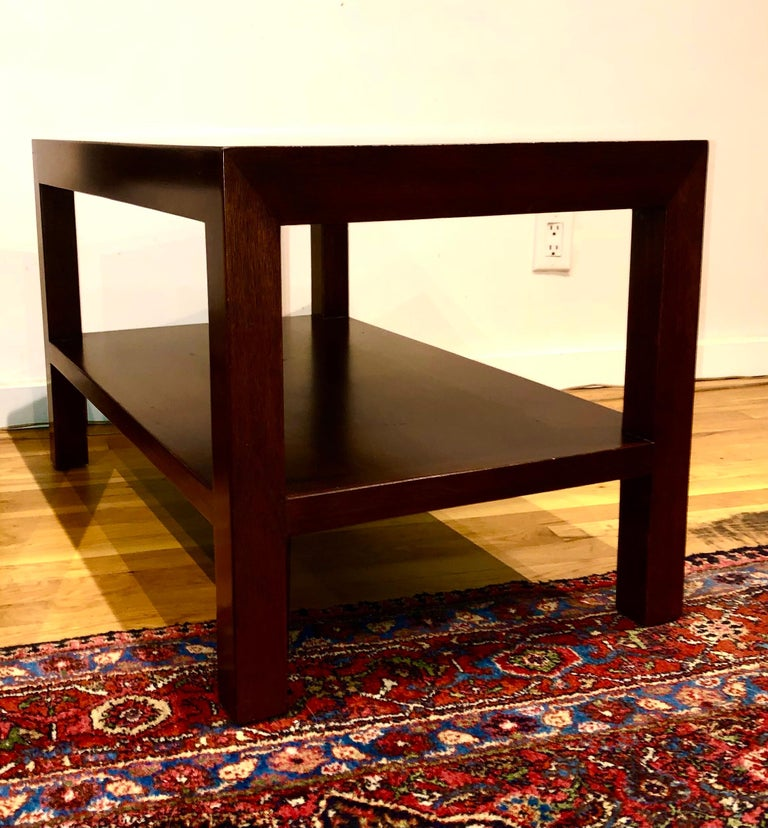 Mid-20th Century Pair of Walnut Side Tables by Dunbar For Sale