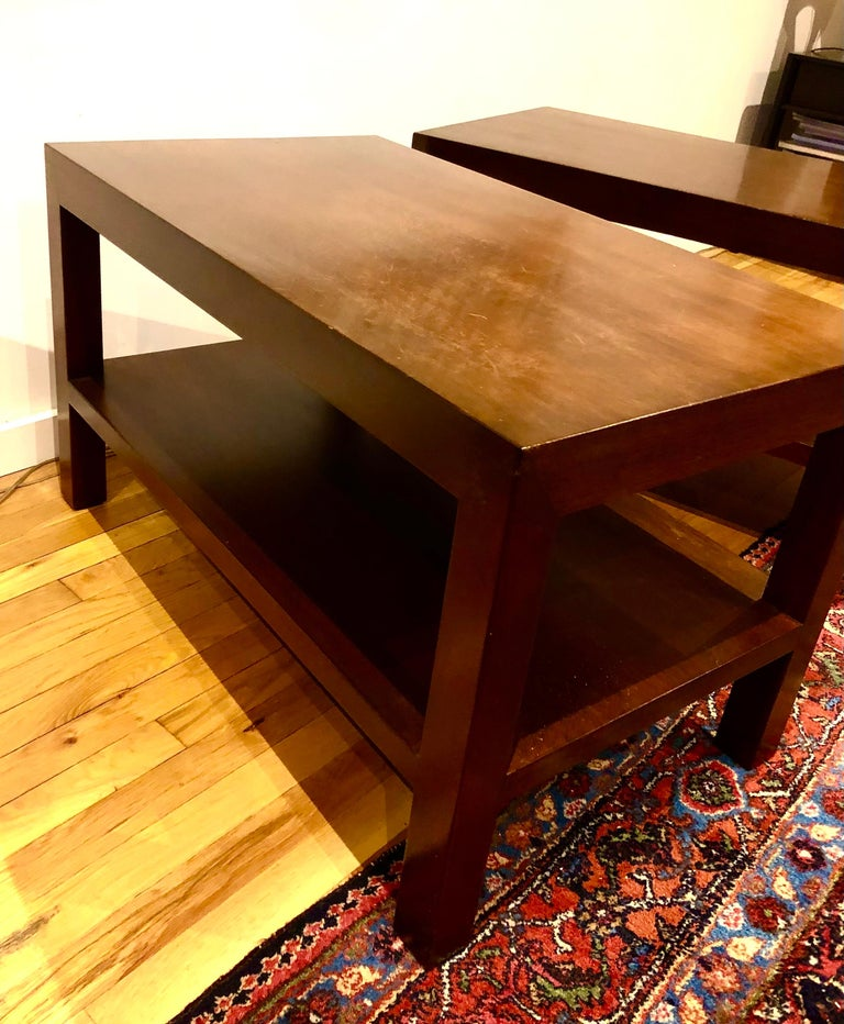 Pair of Walnut Side Tables by Dunbar For Sale 1