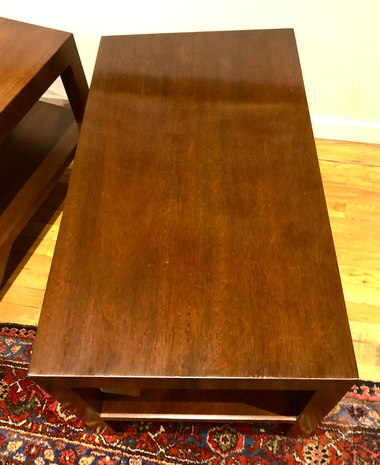 Pair of Walnut Side Tables by Dunbar For Sale 2