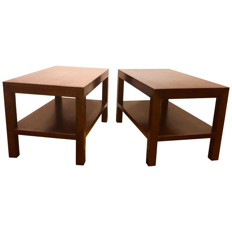 Pair of Walnut Side Tables by Dunbar For Sale