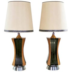 Pair of Walnut Smoke Gray Lucite and Chrome Mid-Century Modern Monumental Lamps