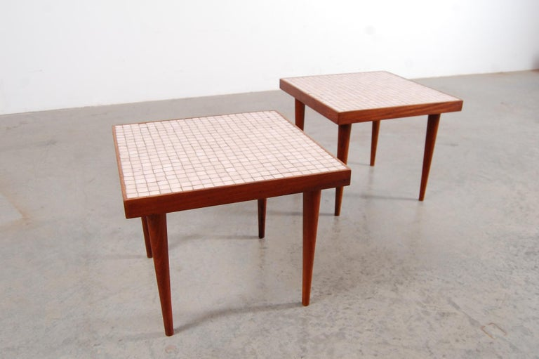 Mid-Century Modern Pair of Walnut Tables with Murano Glass Tile Tops For Sale