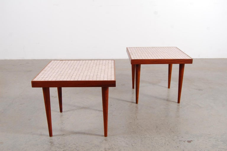 American Pair of Walnut Tables with Murano Glass Tile Tops For Sale