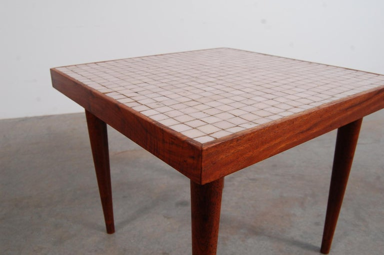 Oiled Pair of Walnut Tables with Murano Glass Tile Tops For Sale