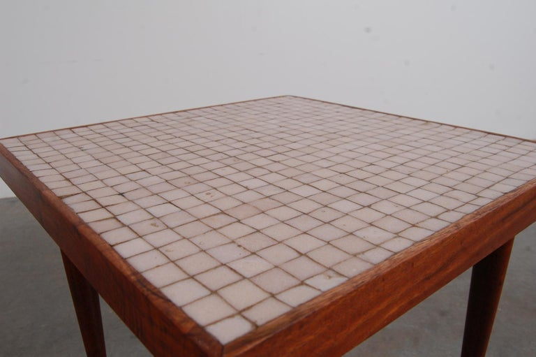 Pair of Walnut Tables with Murano Glass Tile Tops In Good Condition For Sale In Providence, RI