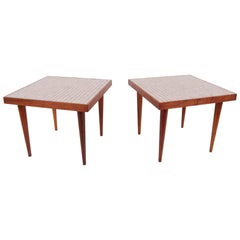 Pair of Walnut Tables with Murano Glass Tile Tops