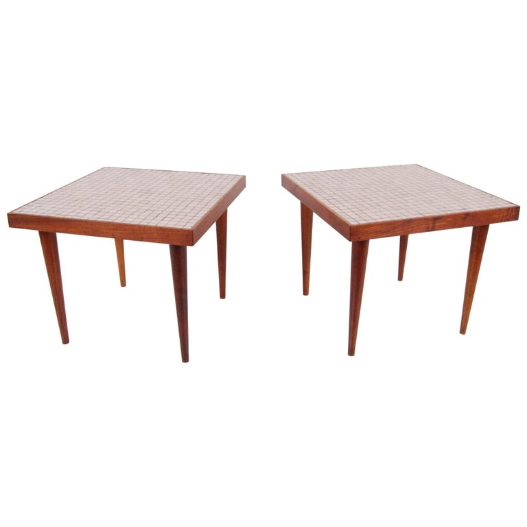 Pair of Walnut Tables with Murano Glass Tile Tops For Sale