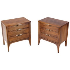 Pair of Walnut Three-Drawer Nightstands End Tables