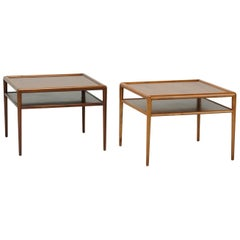 Pair of Walnut Two-Tier Side Tables by Robsjohn Gibbins for Widdicomb