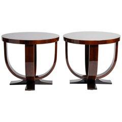 Pair of Walnut Veneer Round Tables