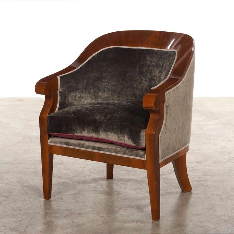 Austrian Pair of Walnut Veneered Art Deco Armchairs, Reupholstered with Grey Velvet For Sale