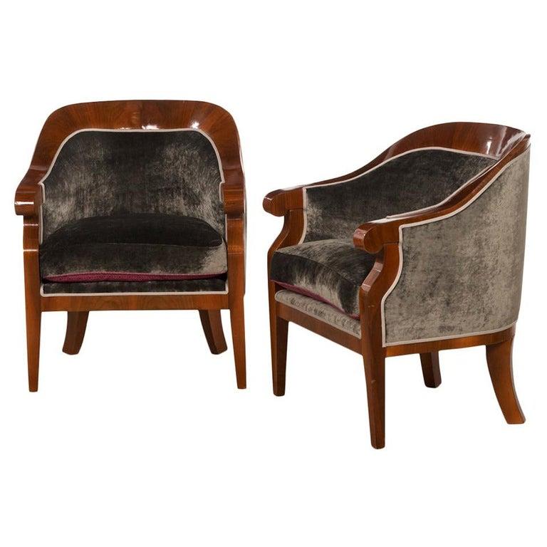 Pair of Walnut Veneered Art Deco Armchairs, Reupholstered with Grey Velvet For Sale
