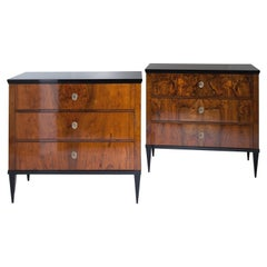 Pair of Walnut Veneered Biedermeier-Style Chests of Drawers, 19th-21st Century