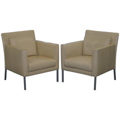 Pair of Walter Knoll Jason 391 Cream Leather Contemporary Armchairs