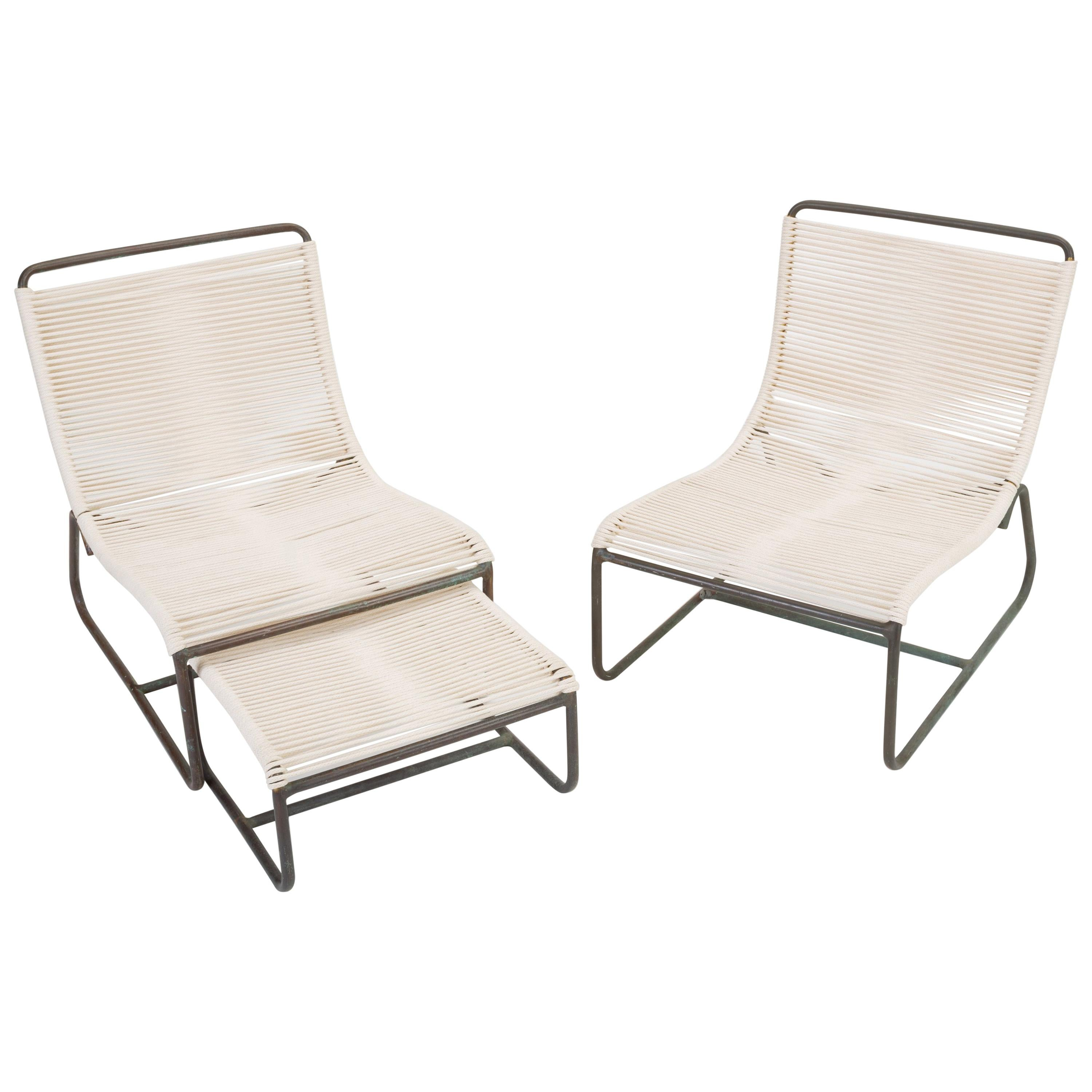 Pair Of Walter Lamb Sleigh Chairs With Single Ottoman For At 1stdibs
