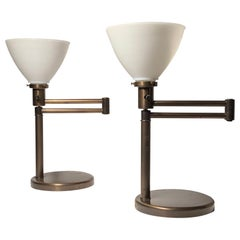 Pair of Walter Von Nessen Vintage Swing Arm Table Lamps in Bronze Finish