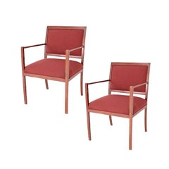 Pair Of Ward Bennett For Brickel Red Fabric Arm Chairs