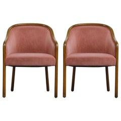 Pair of Ward Bennett for Brickell Associates Pink Velvet Armchairs, circa 1970