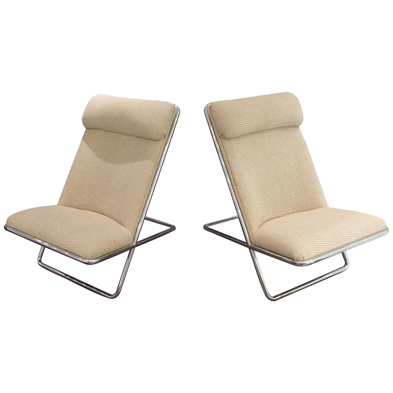 Pair of Ward Bennett Scissor Chairs, circa 1960s