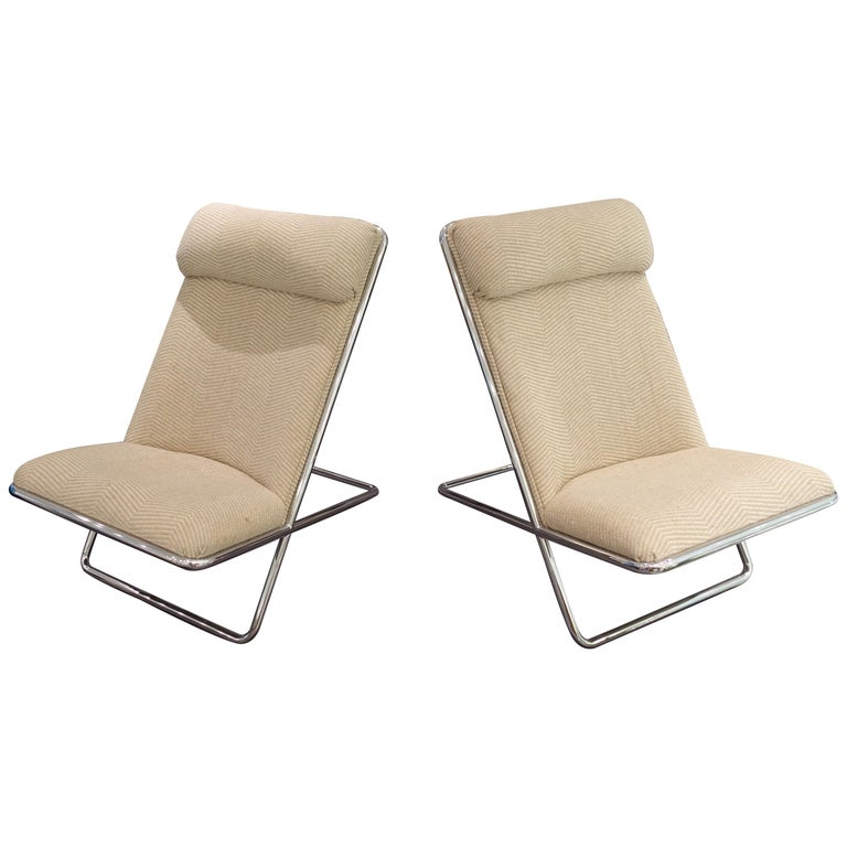 Pair of Ward Bennett Scissor Chairs, circa 1960s For Sale
