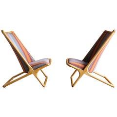 Pair of Ward Bennett 'Scissor Chairs' for Brickel Associates