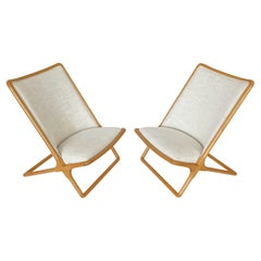 Pair of Ward Bennett Scissor Lounge Chairs in Ash