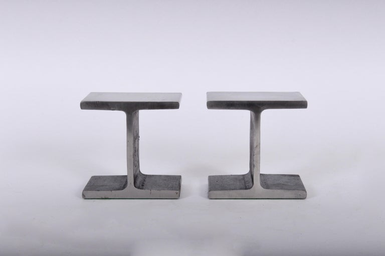 Modern Ward Bennett style brushed steel and blackened iron bookends. Heavy. Sculptural. Stackable.