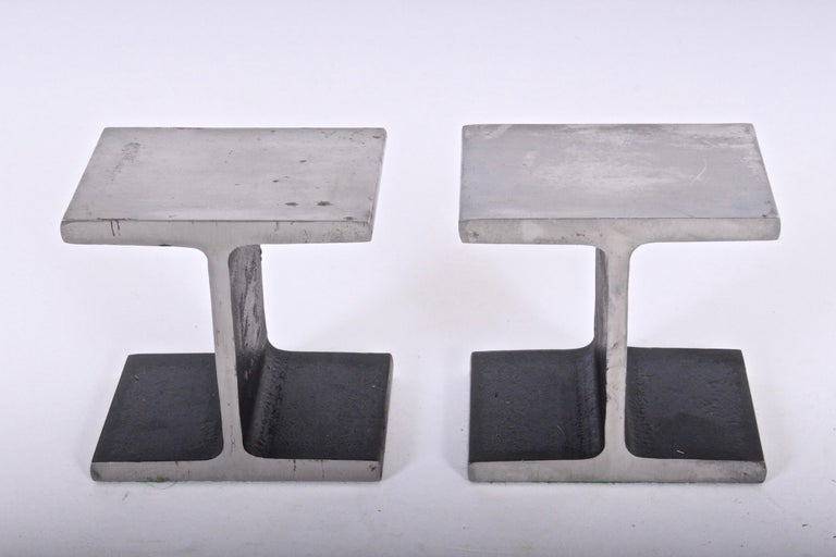 Modern Pair of Ward Bennett Style Steel I Beam Bookends, 1970s For Sale