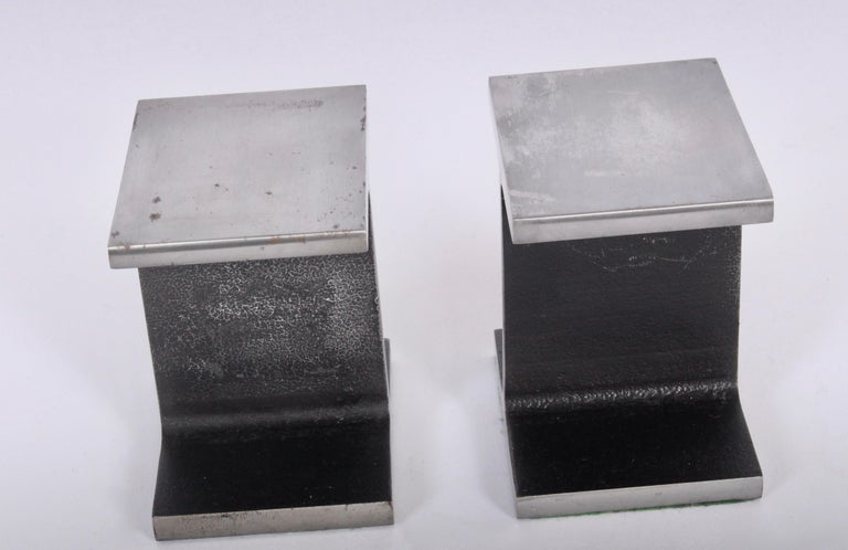American Pair of Ward Bennett Style Steel I Beam Bookends, 1970s For Sale