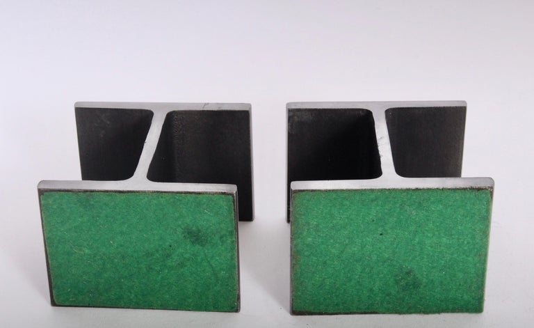 Late 20th Century Pair of Ward Bennett Style Steel I Beam Bookends, 1970s For Sale