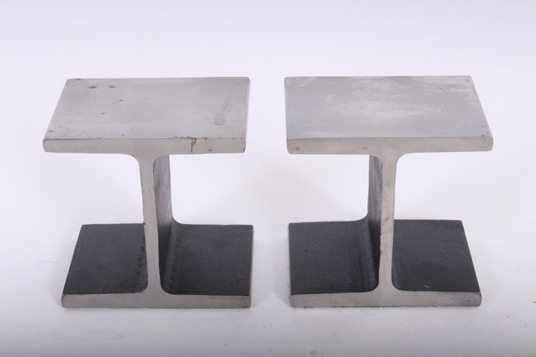 Pair of Ward Bennett Style Steel I Beam Bookends, 1970s For Sale 1